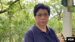 楊健興表示香港新聞自由空間愈來愈萎縮。(美國之音 湯惠芸攝)