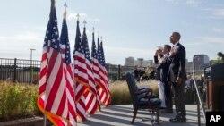 美國總統奧巴馬9月11日出席華盛頓五角大樓舉行肅穆的紀念儀式。