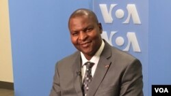 Le président centrafricain Faustin-Archange Touadéra lors d'une interview au siège de l'ONU à New York, 21 avril 2016.