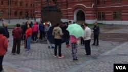 莫斯科紅場附近的中國遊客