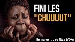 L'une des photos d'affiche du documentaire intitulé « les prisonnières du silence », sur les viols et abus sexuels sur les filles et femmes au cameroun, le 1er mars 2019. (VOA/Emmanuel Jules Ntap)