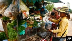 A vendor, right, holds a plastic bag containing salty fish at her mobile market in Kporb A-Tiev village, Kandal province, east of Phnom Penh, Cambodia. (AP Photo/Heng Sinith)
