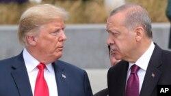 美國總統特朗普和土耳其總統在布魯塞爾北約總部交談(2018年7月11日)