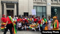 Some of the people who staged a protest outside the Zimbabwe Embassy in London on Wednesday (Courtesy Photo)