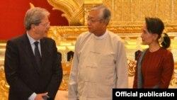 အီတလီႏိုင္ငံျခားေရး၀န္ႀကီးက သမၼတ ဦးထင္ေက်ာ္ နဲ႕ ျမန္မာႏိုင္ငံျခားေရး ၀န္ႀကီး ေဒၚေအာင္ဆန္းစုၾကည္ နဲ႔ေရာ ေတြ႔ဆံု (Photo- Myanmar President office )