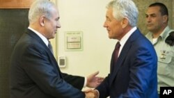 Биньямин Нетаньяху и Чак Хейгел. Иерусалим. 23 апреля 2013 г.