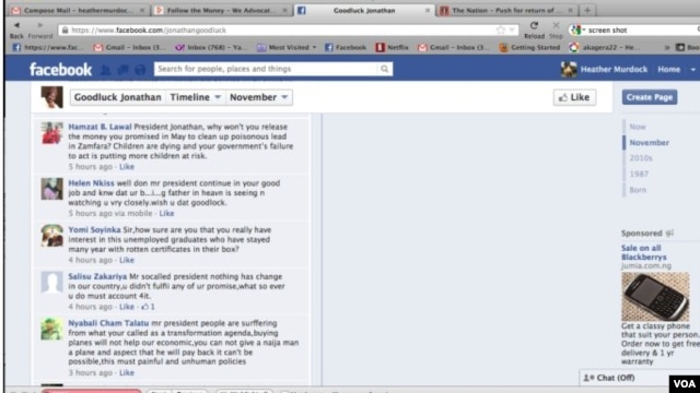 Screenshot of Nigerian President Goodluck Jonathan's Facebook page. (Heather Murdock/VOA)