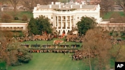 The most famous lawn in America is the one at the White House. In this Dec. 8, 1987 photo, the lawn was the setting as President Ronald Reagan welcomed Soviet leader Mikhail Gorbachev.