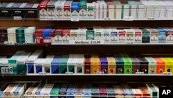 Rokok yang dijual di sebuah toko di New York.