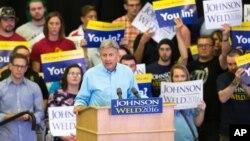 Ứng viên Tổng thống độc lập Gary Johnson phát biểu trong một cuộc mít tinh, ngày 03 tháng 9 năm 2016, tại ĐH Grand View, Des Moines, Iowa.