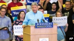 Libertarian presidential candidate Gary Johnson speaks during a campaign rally, Sept. 3, 2016, at Grand View University in Des Moines, Iowa.
