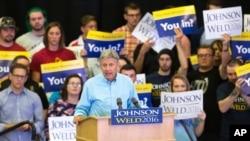 Kandidat presiden AS dari Partai Libertarian Gary Johnson dalam kampanye di Des Moines, Iowa (3/9). (AP/Scott Morgan)