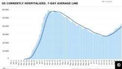 კოვიდ-19-ით ჰოსპიტალიზაციის მონაცემები ამერიკაში (6 მარტი-6 ივლისი). ფოტო: COVID Tracking Project