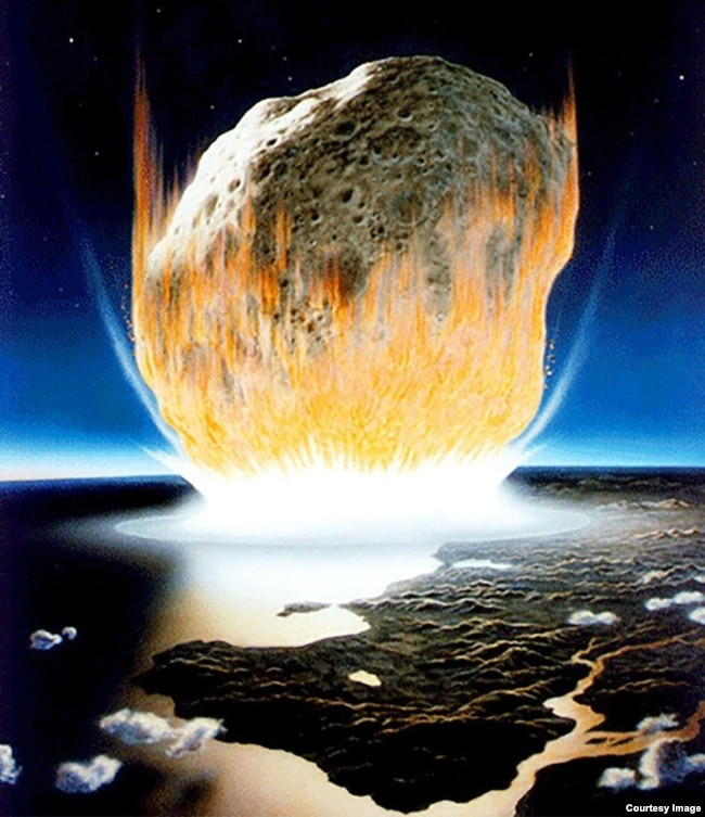 An artist's interpretation is shown of the asteroid impact that scientists believe caused the extinction of the dinosaurs. (Credit: NASA/Don Davis)