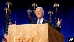 Calon presiden dari Partai Demokrat, mantan Wakil Presiden Joe Biden berbicara pada hari keempat Konvensi Nasional Demokrat, Kamis, 20 Agustus 2020, di Chase Center di Wilmington, Del. (Foto: AP/Andrew Harnik)