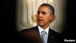 Presiden AS Barack Obama hari Senin (14/4) memberikan pernyataan soal kekerasan terkait agama, pada acara sarapan doa di Gedung Putih.