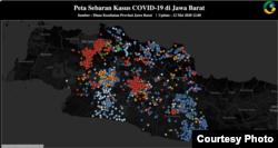 Data Pusat Informasi dan Komunikasi Covid-19 Jabar menunjukkan kasus positif (merah) terkonsentrasi di Bogor, Depok, Bekasi (Bodebek) dan Bandung Raya. Sementara kabupaten/kota lainnya diprediksi masuk kategori moderat (courtesy: Pikobar).