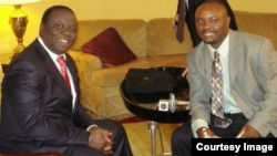 Opposition leader Morgan Tsvangirai and VOA Studio 7's Blessing Zulu. (Courtesy Image)