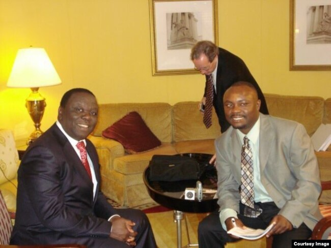 file: Opposition leader Morgan Tsvangirai and VOA Studio 7's Blessing Zulu. (Courtesy Image)