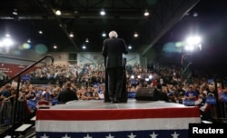 Democratic U.S. presidential candidate and U.S. Senator Bernie Sanders speaks to supporters during his five state primary night rally held in Huntington, West Virginia, April 26, 2016.
