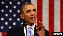 美國總統奧巴馬在發表國情咨文演講。