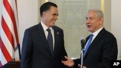 Mitt Romni Isroil Bosh vaziri Benyamin Netanyaxu bilan uchrashuvda, 29-iyul, 2012