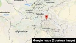 Tanda panah merah menandai wilayah Hindu KUsh di Afghanistan, tempat gempa bumi terjadi.