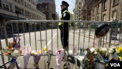 A memorial site along the course of the Boston Marathon, a few blocks from where two explosions struck near the finish line.