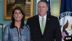 مایک پمپئو وزیر خارجه و نیکی هیلی سفیر آمریکا در سازمان ملل تصمیم پرزیدنت ترامپ را برای این خروج اعلام کردند.