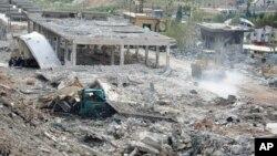 시리아 관영 통신 SANA가 5일 이스라엘의 공습으로 파괴된 건물이라며 공개한 사진.