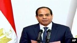 엘시시 이집트 대통령 당선자가 8일 헌법재판소에서 취임 연설을 하고 있다.