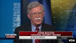 លោក John Bolton ទីប្រឹក្សាសន្តិសុខជាតិអាមេរិកផ្តល់បទសម្ភាសន៍នៅក្នុងកម្មវិធី Fox News Sunday កាលពីថ្ងៃទី២៨ ខែមេសា ឆ្នាំ២០១៩។