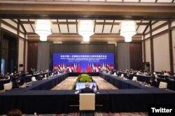 Pertemuan Menlu negara-negara anggota ASEAN dengan Menlu China Wang Yi memperingati 30 tahun kerjasama ASEAN-China di Chongqing, China, 7 Juni 2021. (Twitter/@Menlu_RI)