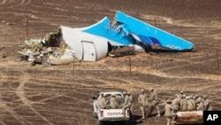 Restos del avión de Metrojet que ahora las autoridades rusas reconocen fue derribado por una bomba.