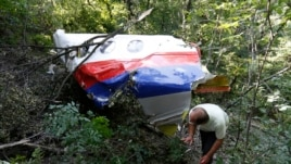 A man walks past wreckage at the crash site of Malaysia Airlines Flight MH17 near the village of Hrabove (Grabovo), Donetsk region, July 26, 2014.