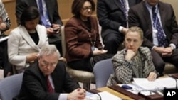 Diplomacy in Action: U.S. Secretary of State Hillary Rodham Clinton, right, listens as British Foreign Minister William Hague, left, addresses a Security Council meeting at United Nations headquarters.