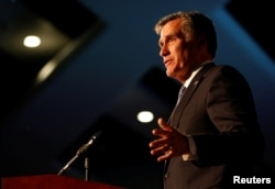 밋 롬니 전 매사추세츠 주지사가 지난 2월 유타주 프로보에서 열린 '유타 카운티 공화당 링컨 데이 디너' 에서 연설하고 있다.