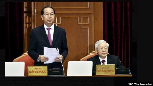 Chủ tịch Trần Đại Quang và Tổng bí thư Nguyễn Phú Trọng tại Hội nghị Trung ương 7.