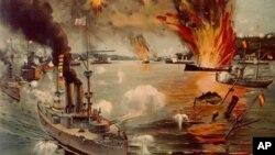 一幅关于美国1898年在马尼拉港击败西班牙海军的画作