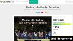 A screenshot of the website LaunchGood, where the group Muslims United for San Bernadino, have raised more than $150,000 for victims of a mass shooting earlier this month.