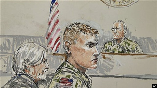 U.S. Army Staff Sgt. Calvin Gibbs (C) is shown in this courtroom sketch, with Phillip Stackhouse, Gibbs' civilian attorney (L), and Investigating Officer Col. Thomas P. Molloy (R), who is overseeing the Article 32 hearing in a military courtroom on Joint