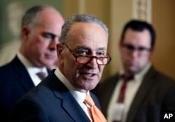 FILE - Senate Minority Leader Chuck Schumer of N.Y. speaks on Capitol Hill, Feb. 6, 2018.