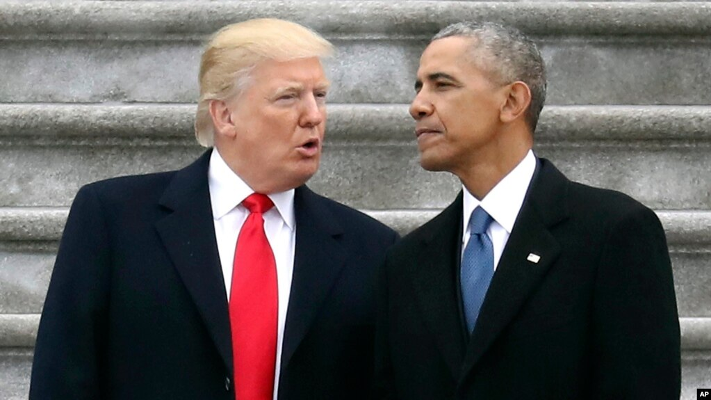 Tổng thống Mỹ Donald Trump và cựu TT Barack Obama, Washington DC, ngày 20/01/2017.