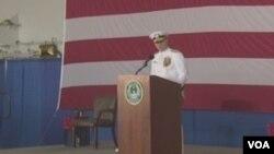 美国海军作战部长理查德森在维吉尼亚州诺福克宣布恢复第二舰队