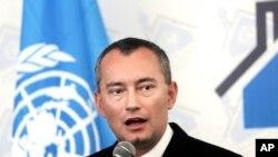 United Nations Special Coordinator for the Middle Le Coordonnateur spécial des Nations Unies pour le processus de paix au Moyen-Orient, Nickolay Mladenov, lors d'une conférence de presse à Gaza, le 17 février 2016.