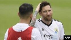 L'attaquant argentin Lionel Messi lors d'une séance d'entraînement au camp de base de l'équipe à Bronnitsy, le 13 juin 2018,