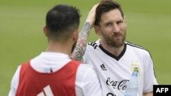 L'attaquant argentin Lionel Messi lors d'une séance d'entraînement au camp de base de l'équipe à Bronnitsy, le 13 juin 2018.