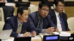 지난 22일 뉴욕에 있는 유엔 본부에서 열린 북한 인권 토론회에서 북한 대표가 발언하고 있다. (자료사진)