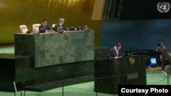 9일 국제원자력기구(IAEA) 연례보고서를 주제로 열린 유엔총회 회의에서 김성 유엔주재 북한대사가 발언하고 있다. United Nations.
