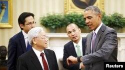 Tổng thống Obama và Tổng bí thư Nguyễn Phú Trọng tại phòng Bầu Dục ở Nhà Trắng hồi tháng Bảy năm ngoái.